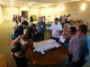 Neighbors discuss model of project